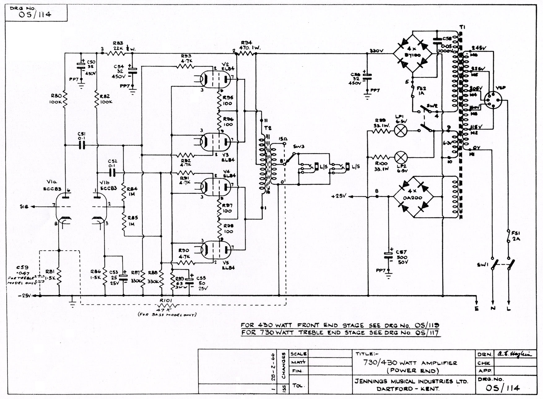 The Vox Ul730 Power Section Schematic Os 114
